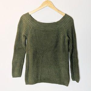 Francesca's Olive Green Knit Sweater Large